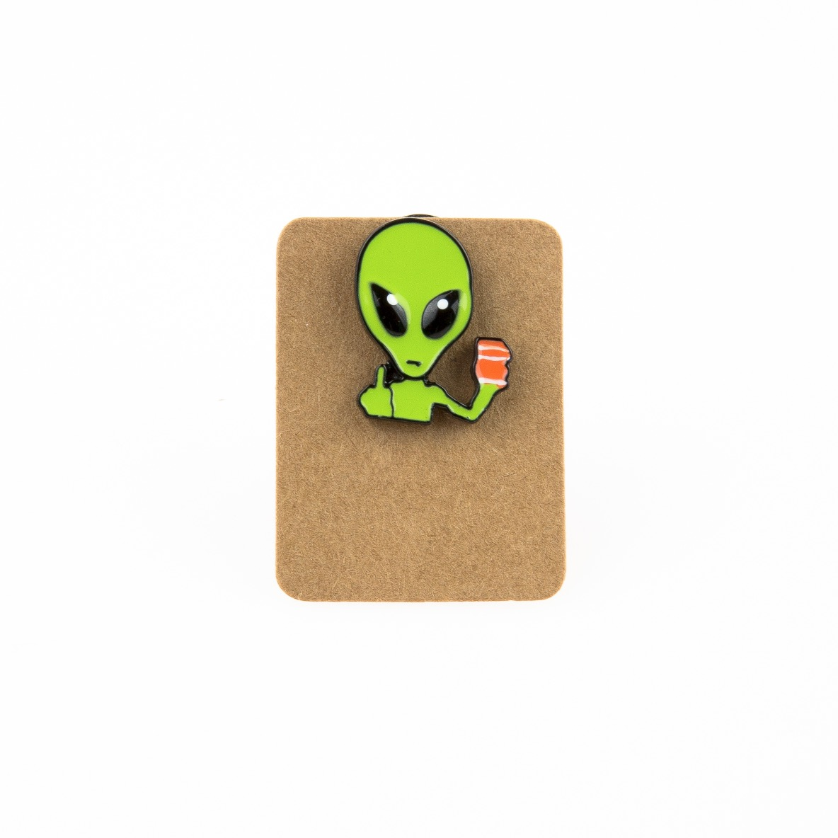 Metal Alien Middle Finger Enamel Pin Badge