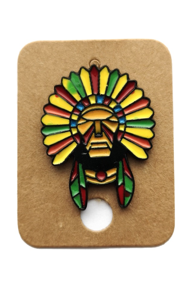 Metal Ancient Mayan Leader Enamel Pin Badge