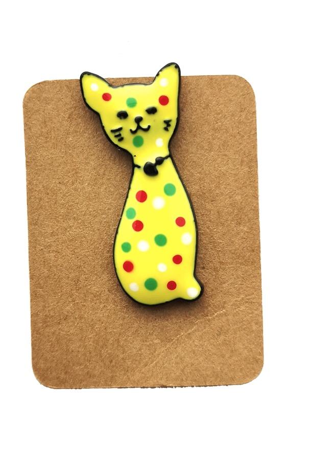 Metal Yellow Cat Dot Enamel Pin Badge