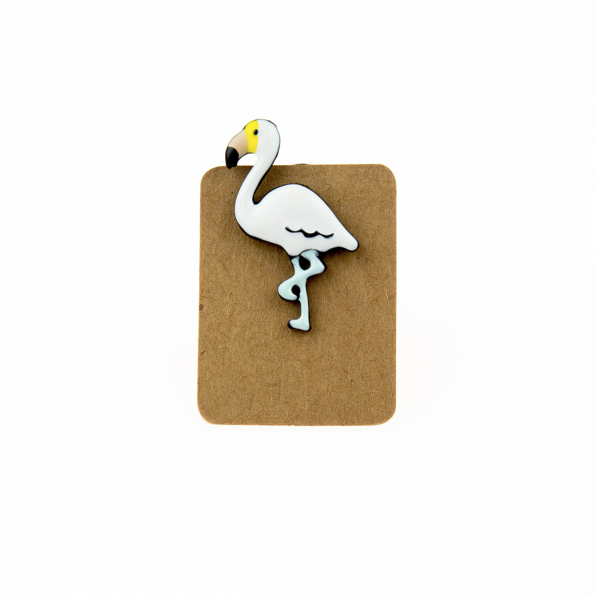 Metal White Flamingo Enamel Pin Badge