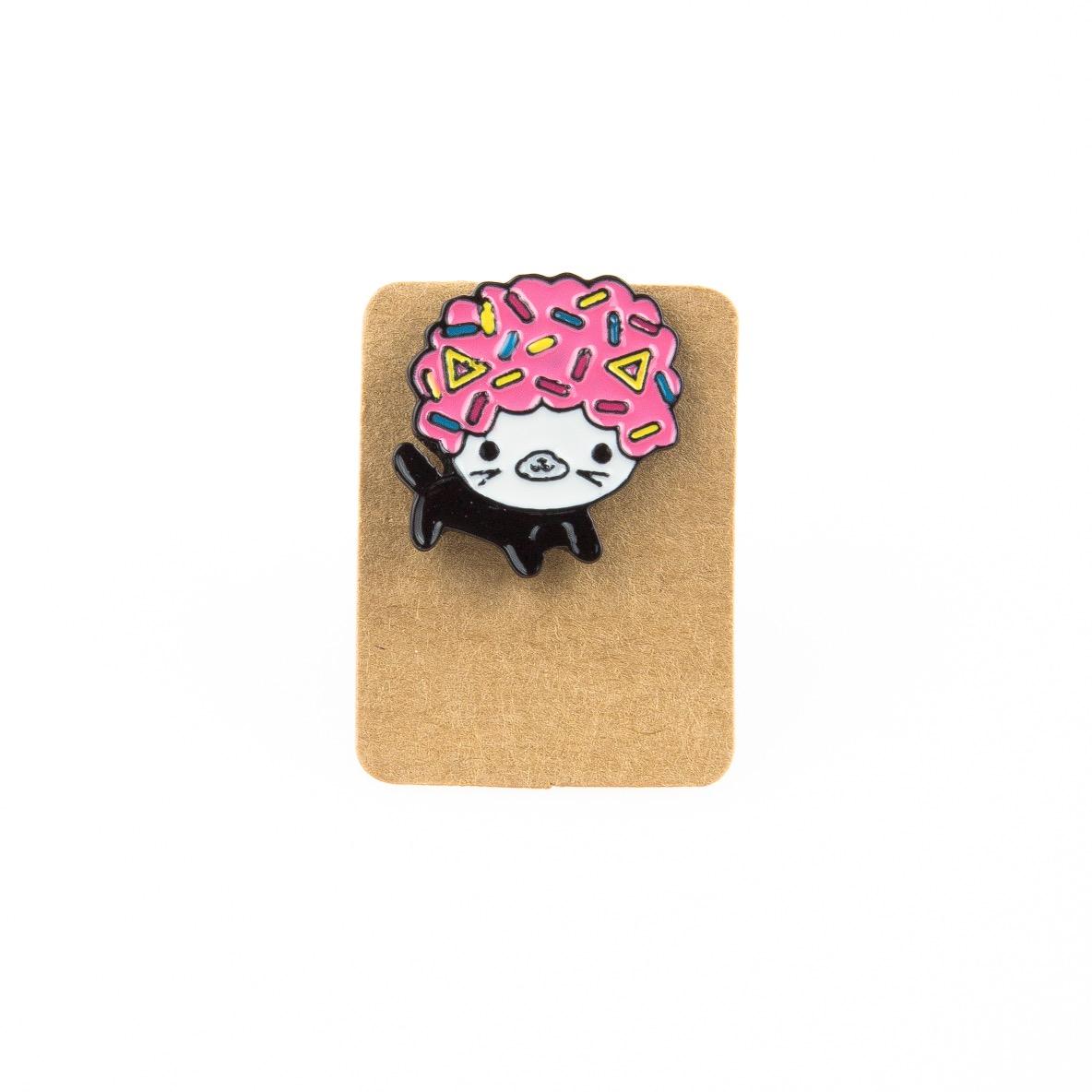 Metal Cat Donut Head Enamel Pin Badge