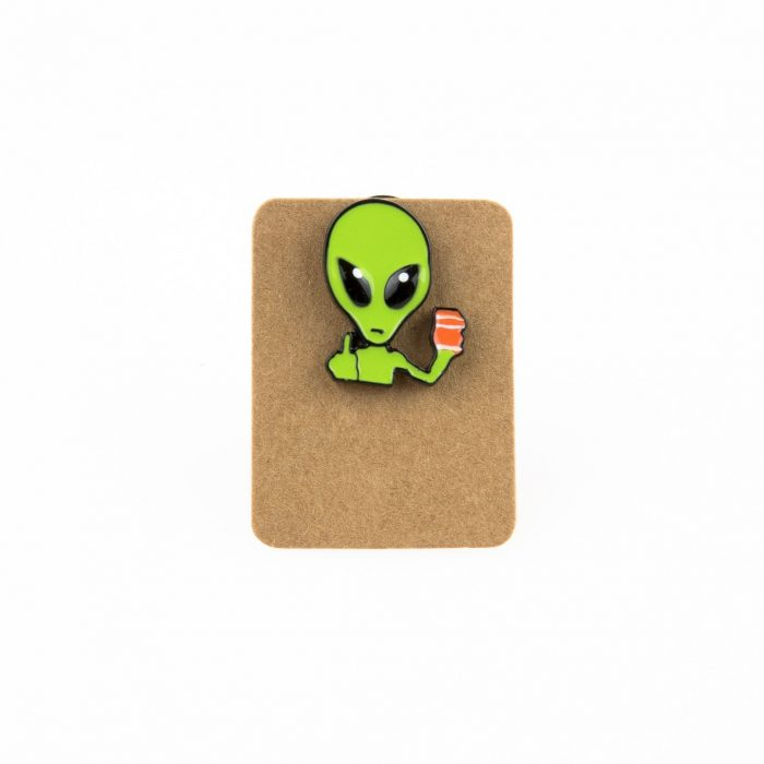 Metal Alien Middle Finger Enamel Pin Badge