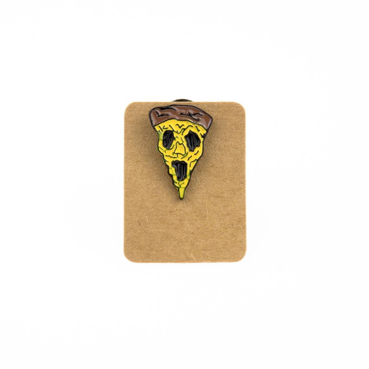 Metal Scare Pizza Slice Enamel Pin Badge