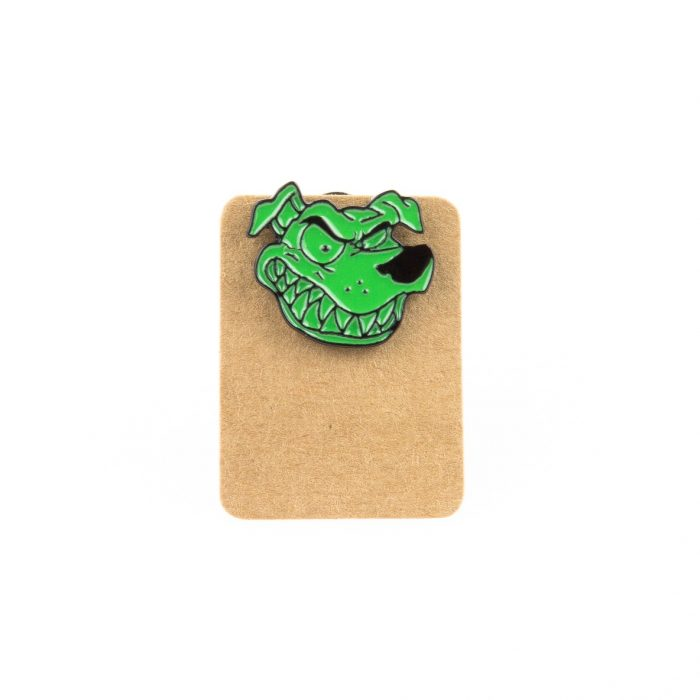 Metal Smiling Green Dog Enamel Pin Badge