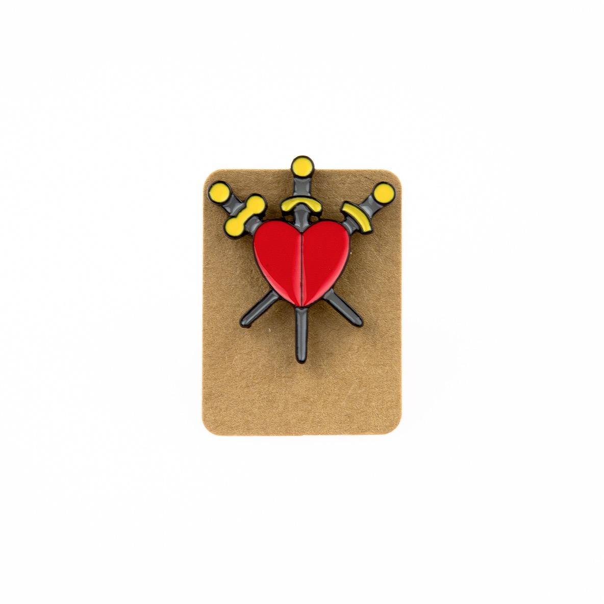 Metal Heart Three of Swords Enamel Pin Badge