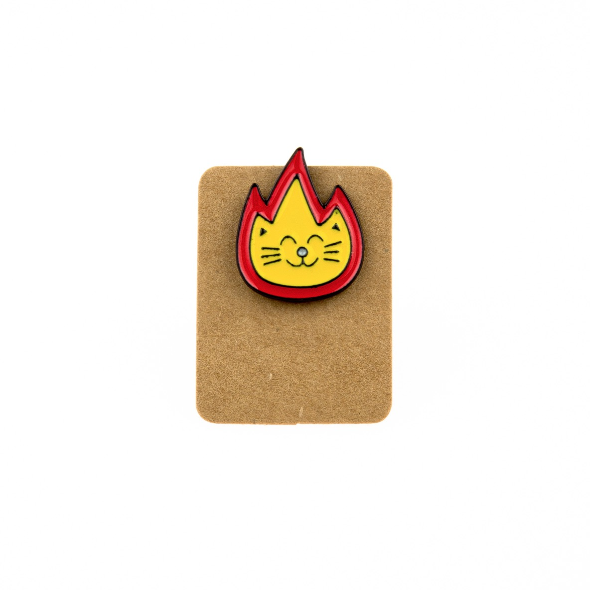 Metal Cat Flames Enamel Pin Badge