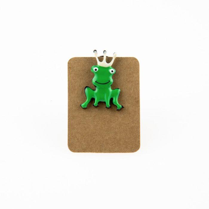 Metal Frog King Enamel Pin Badge