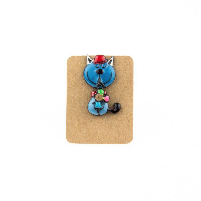 Metal Cat Catch Mouse Enamel Pin Badge
