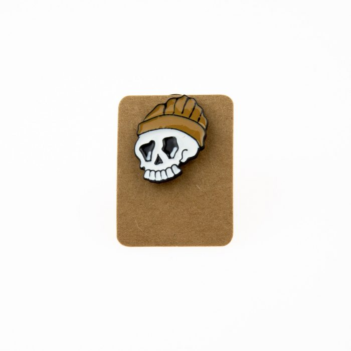 Metal Skull Brown Barret Enamel Pin Badge