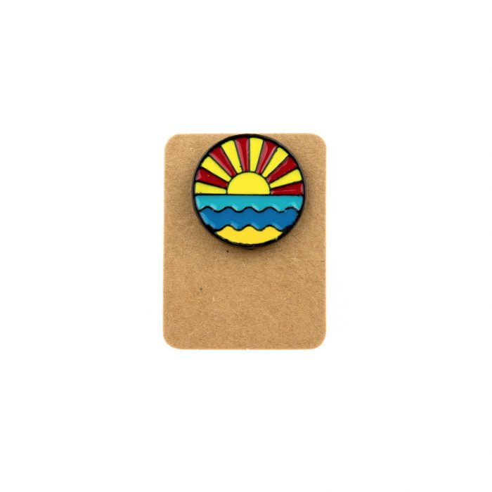 Metal Sunset Sea Enamel Pin Badge