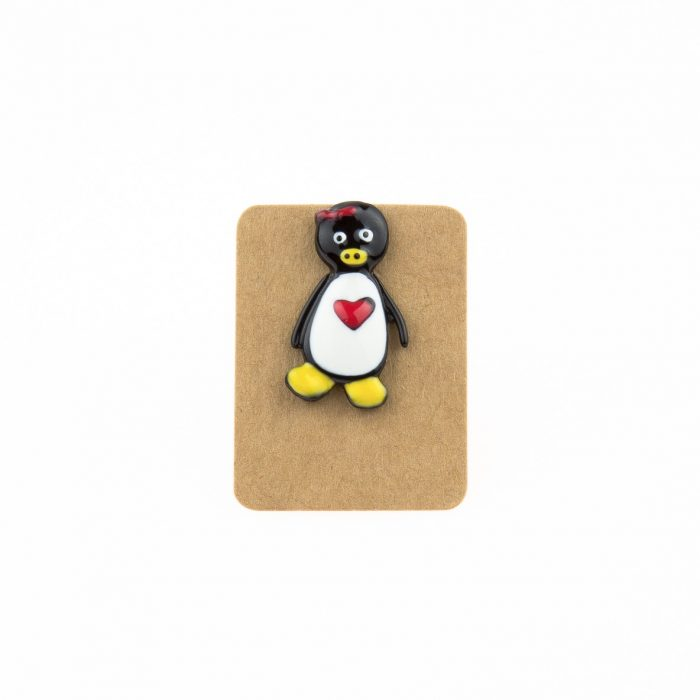 Metal Penguin Red Ribbon Enamel Pin Badge