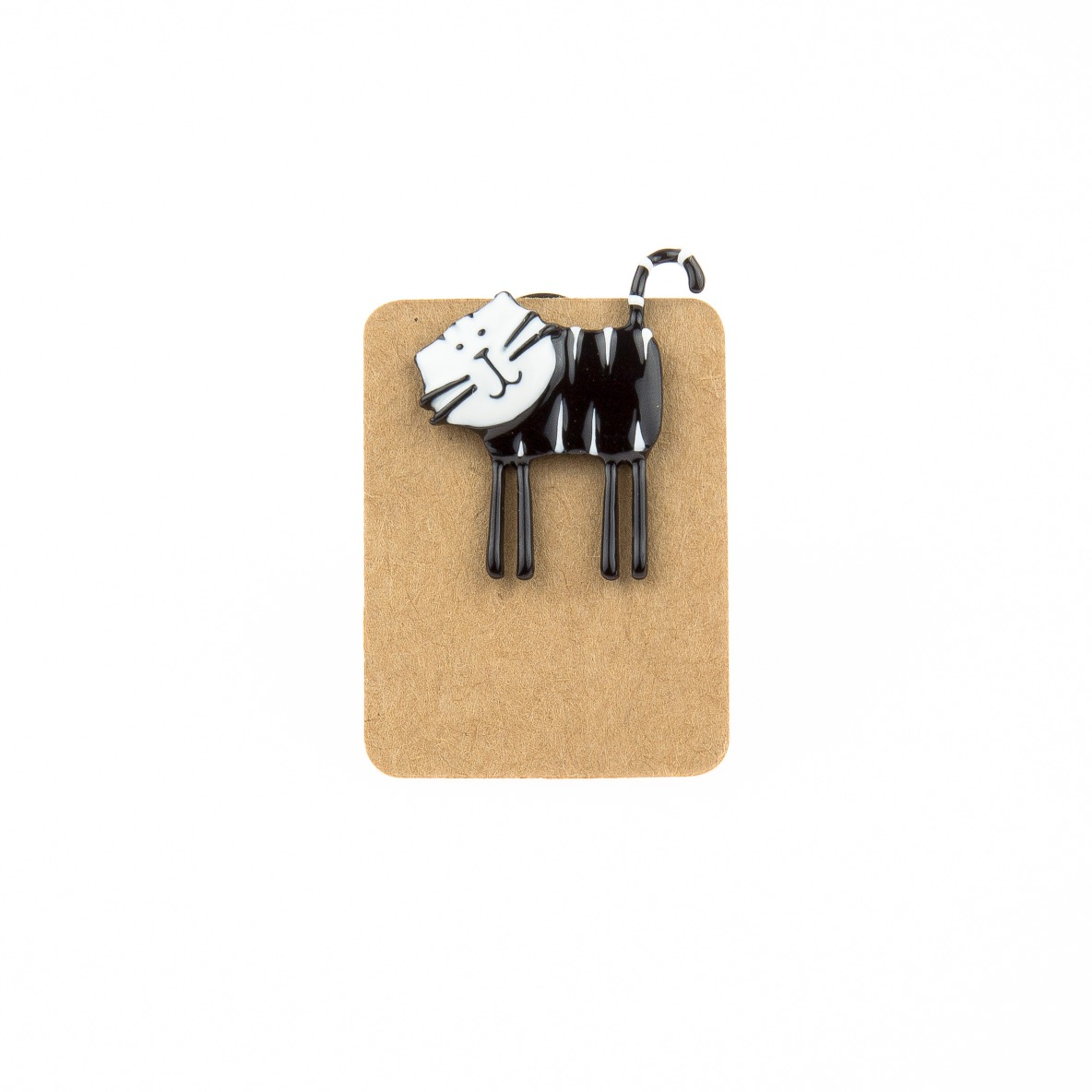 Metal Black and White Cat Enamel Pin Badge