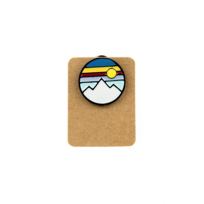 Metal Sunset Mountain Enamel Pin Badge