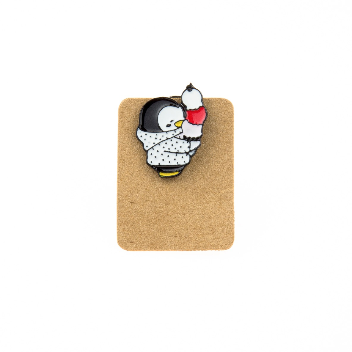 Metal Penguin Coat Ice Cream Enamel Pin Badge