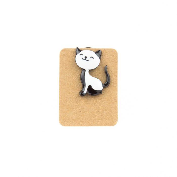 Metal Black&White Cat Enamel Pin Badge
