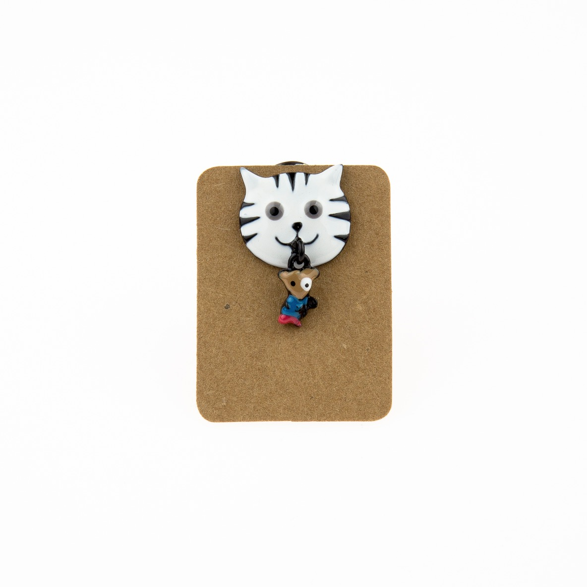 Metal Cat Head Catch Mouse Enamel Pin Badge