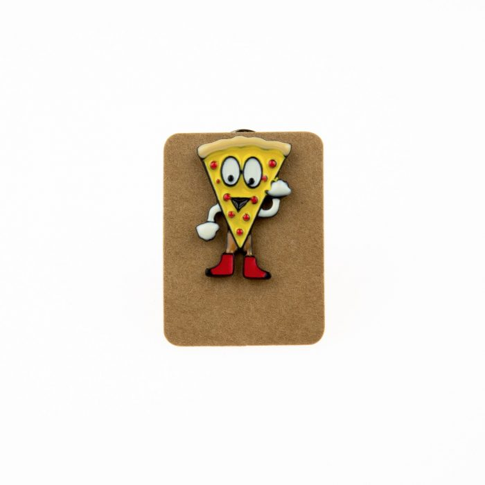Metal Pizza Slice Man Enamel Pin Badge