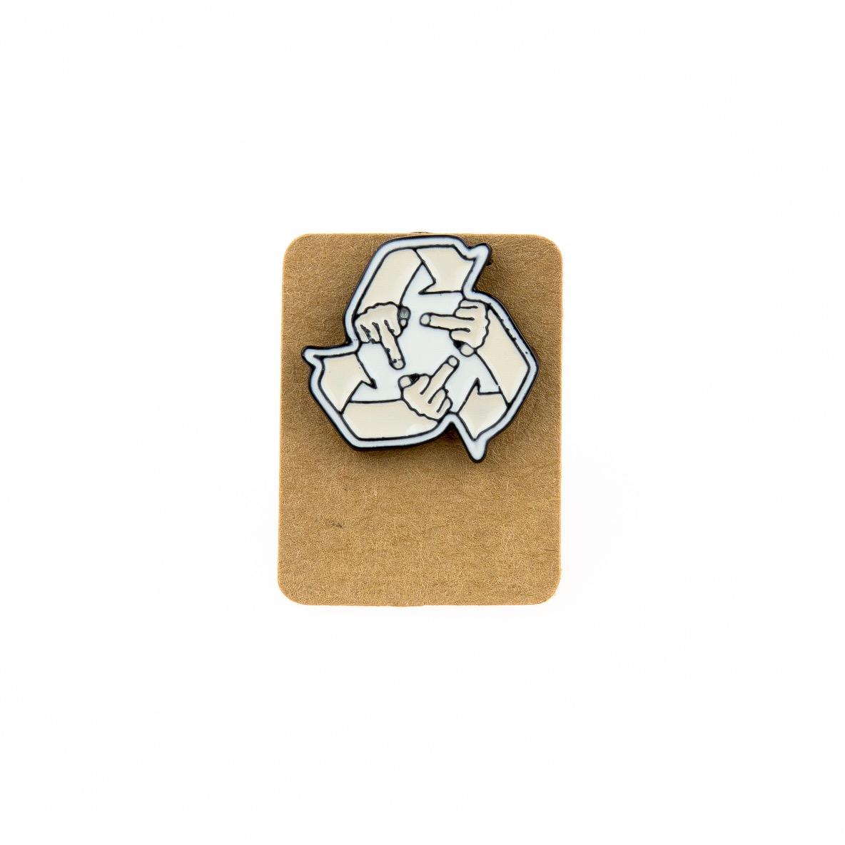 Metal Recycled Middle Finger Enamel Pin Badge