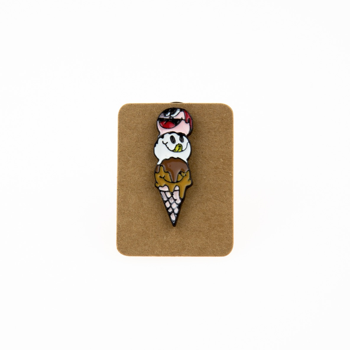 Metal Ice Cream Three Scoop Enamel Pin Badge