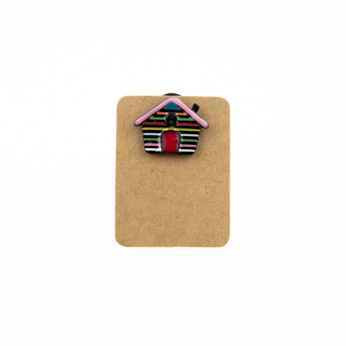 Metal House Pink Roof Enamel Pin Badge