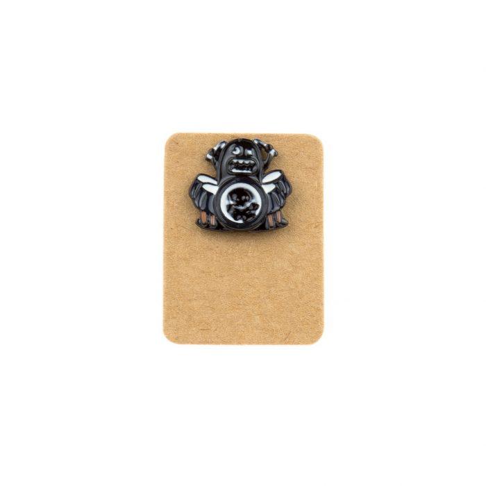 Metal Ghost Drum Player Enamel Pin Badge
