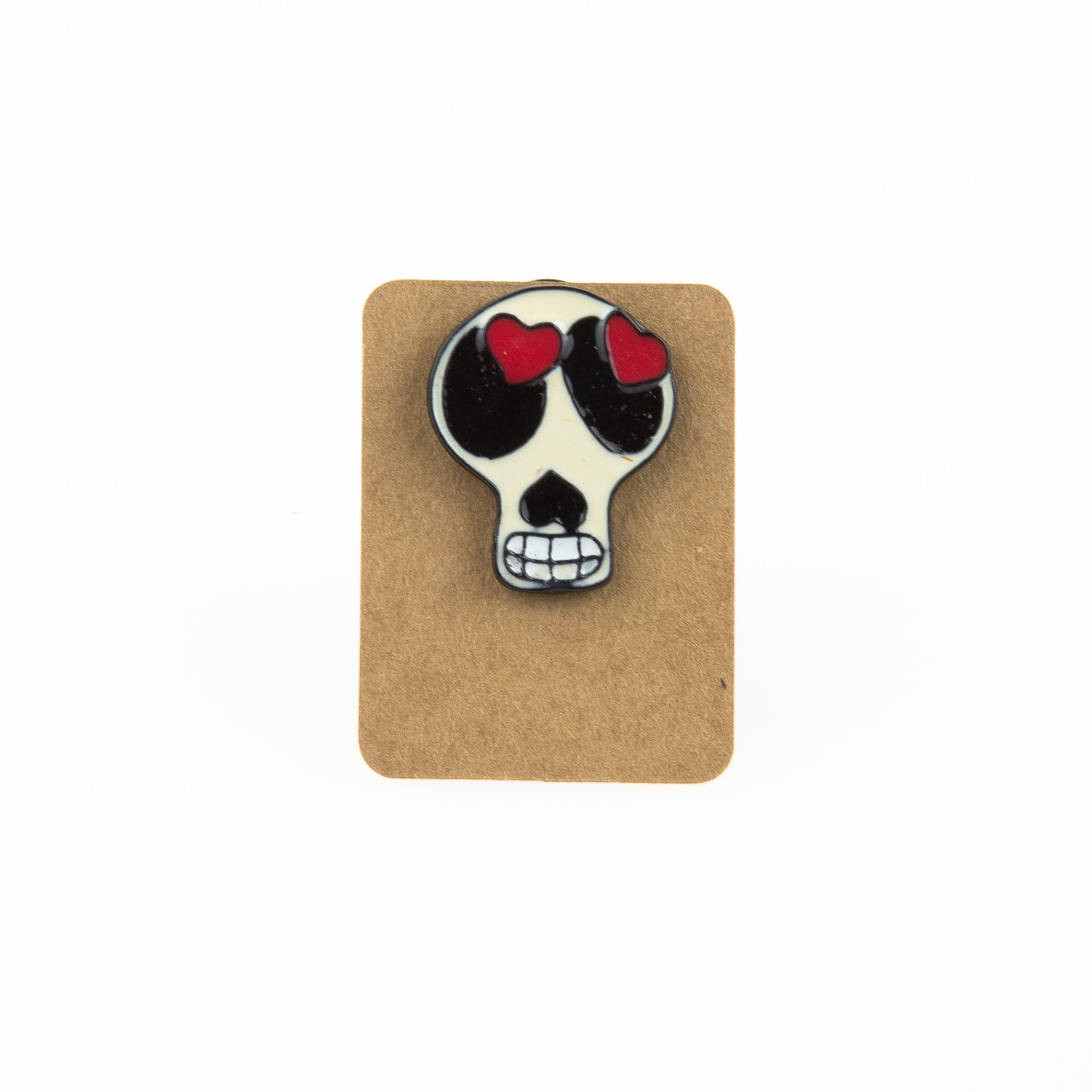 Metal Skull Head Heart Eye Enamel Pin Badge