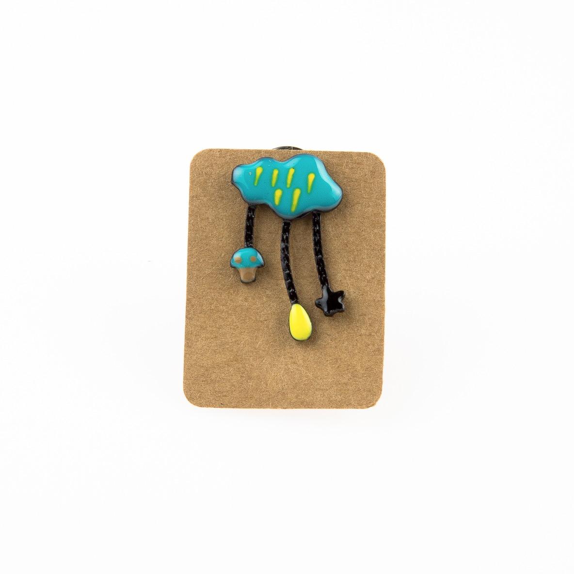 Metal Blue Cloud Mushroom Star Enamel Pin Badge