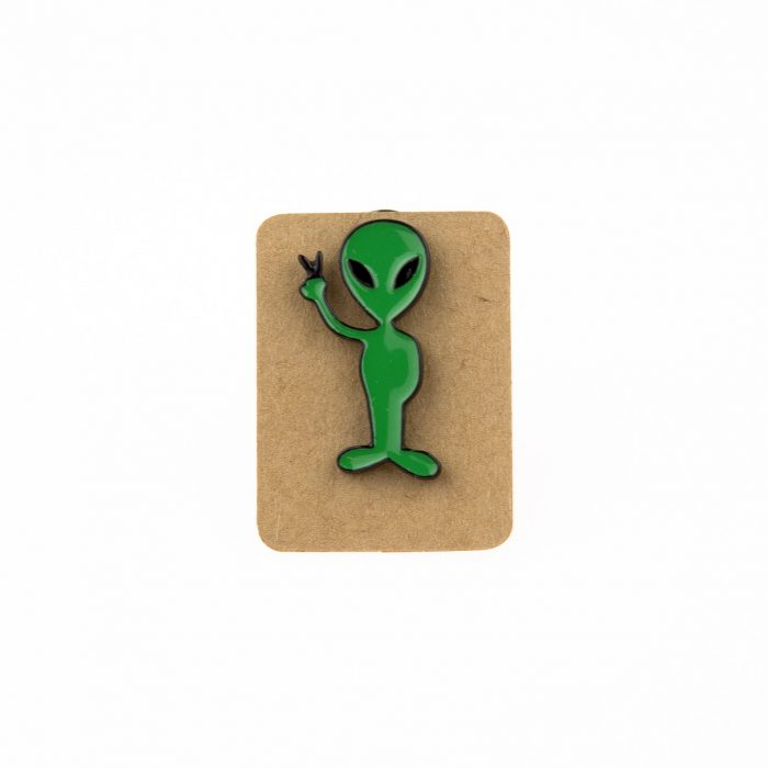 Metal Green Alien Peace Enamel Pin Badge