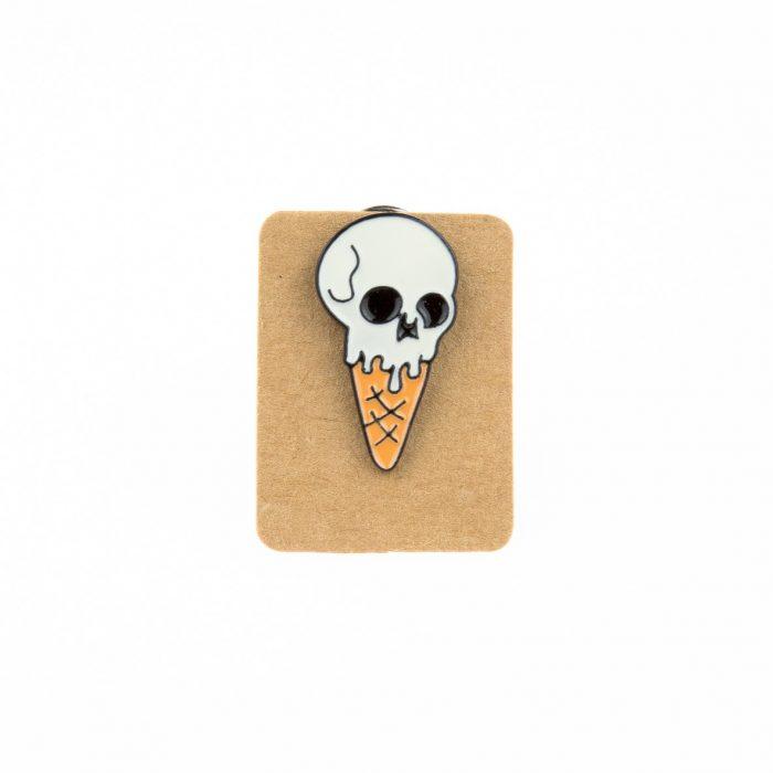 Metal Skull Ice Cream Enamel Pin Badge