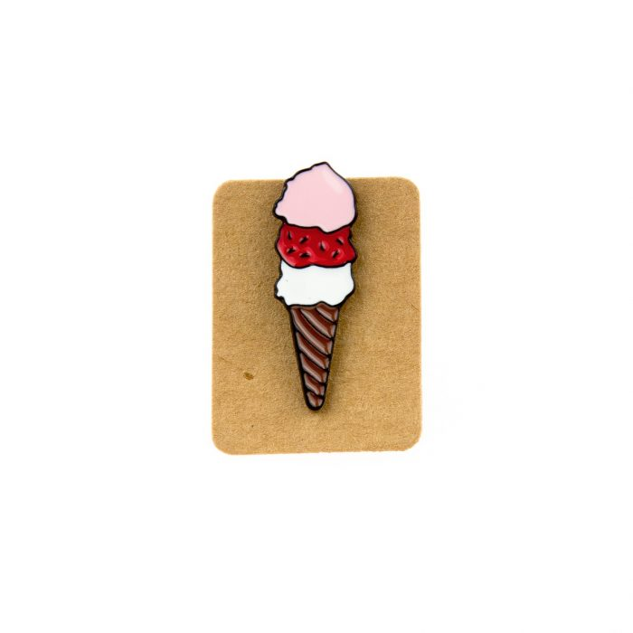 Metal Ice Cream Three Scoop Enamel Pin Badge