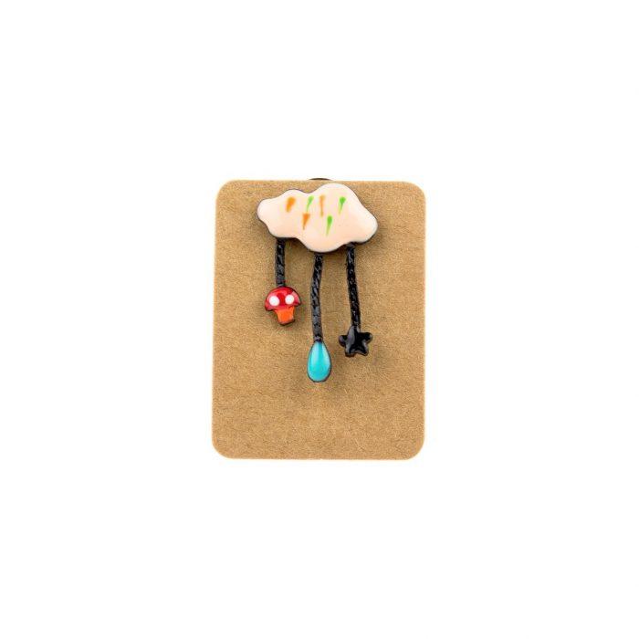 Metal Orange Cloud Mushroom Star Enamel Pin Badge