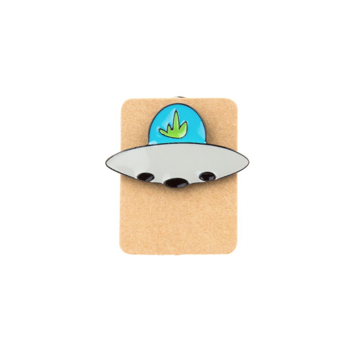 Metal Ufo Leaf Enamel Pin Badge