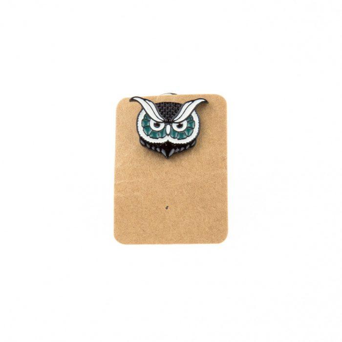 Metal Owl Big Eyebrow Enamel Pin Badge