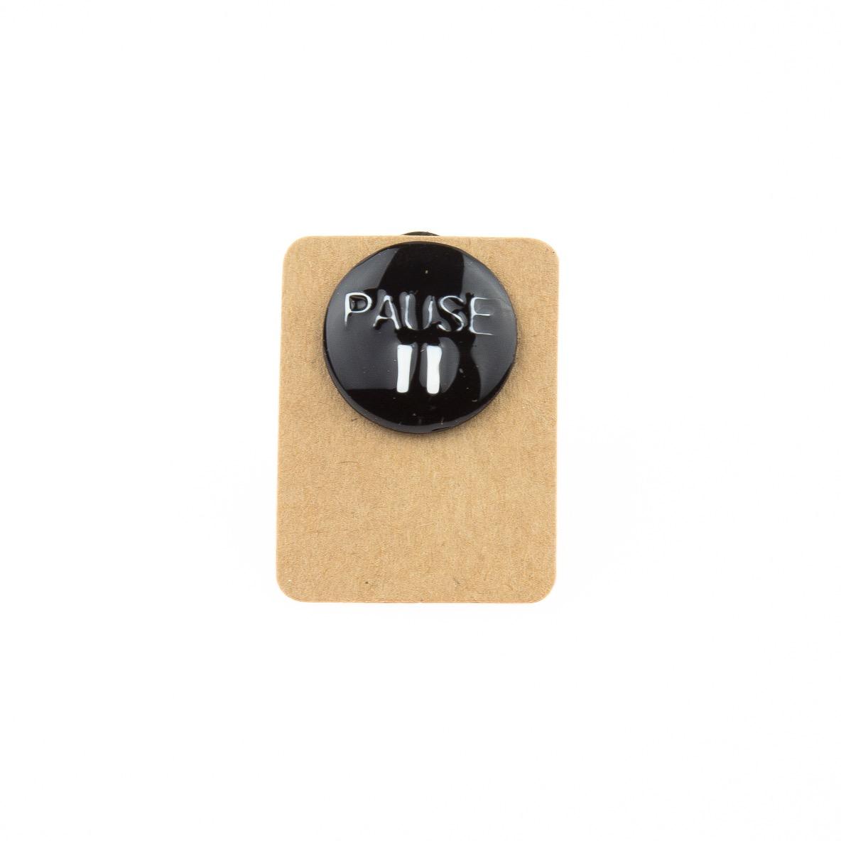 Metal Pause Button Enamel Pin Badge