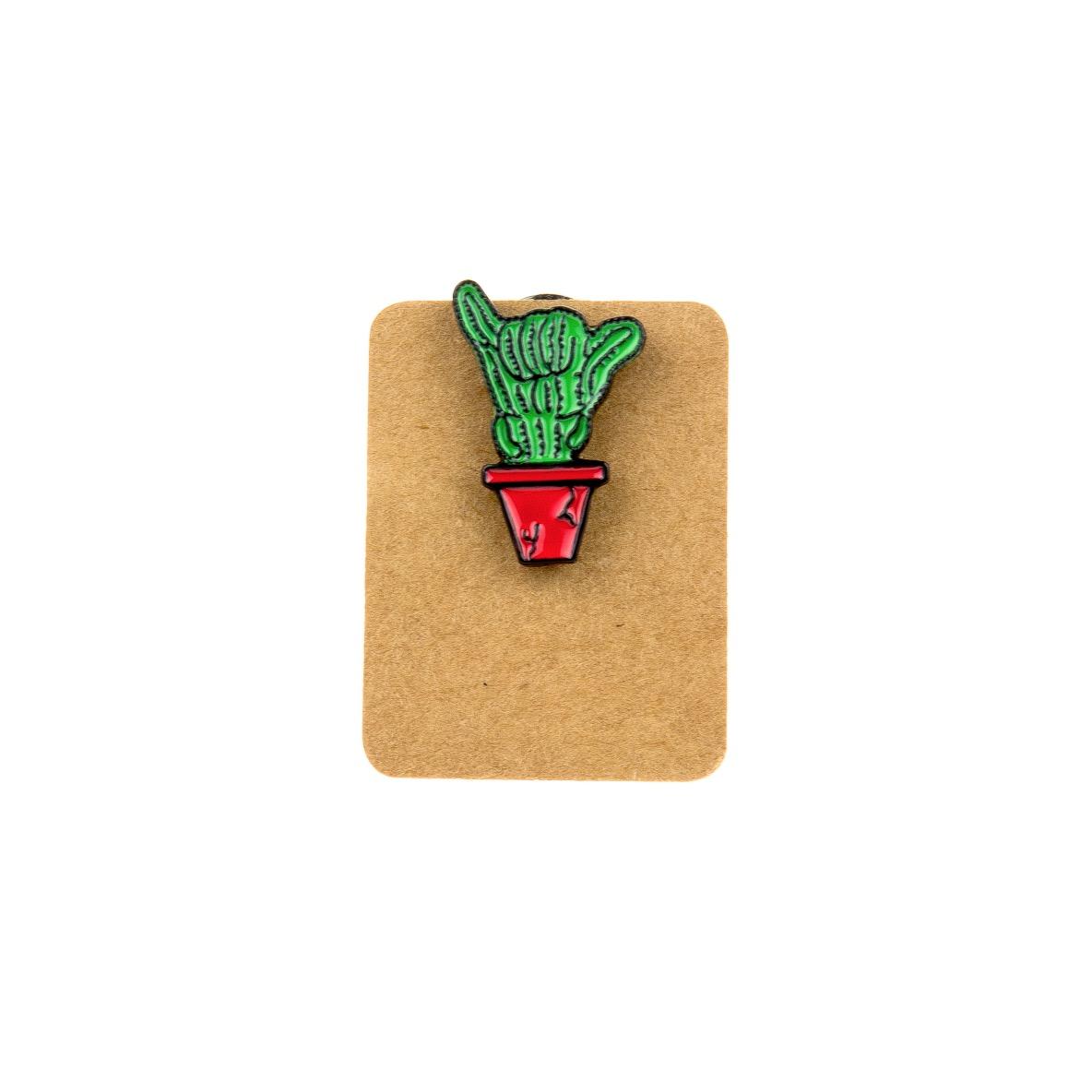 Metal Cactus Heavy Metal Sign Enamel Pin Badge