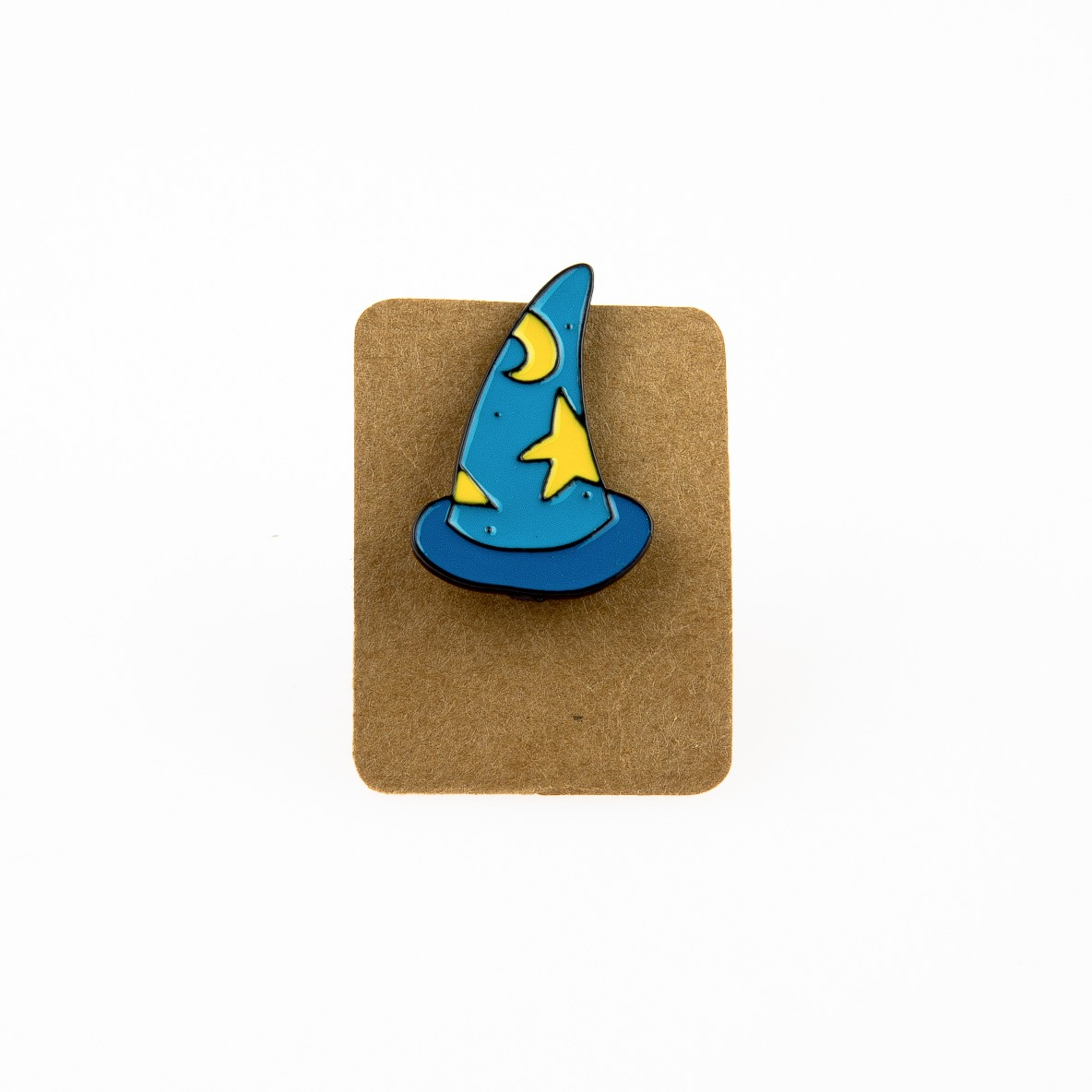 Metal Blue Wizard Hat Star Moon Enamel Pin Badge