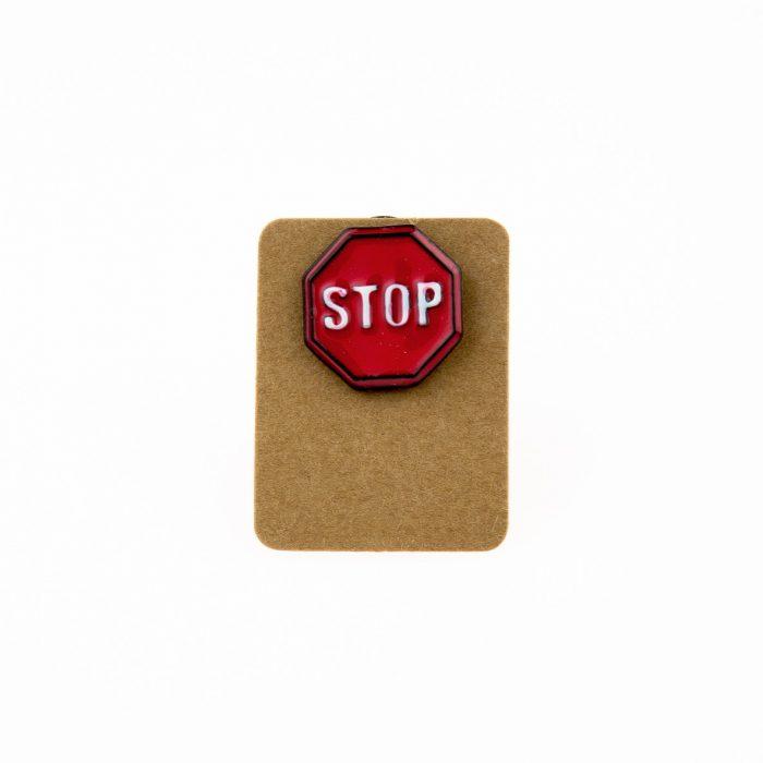 Metal Stop Road Sign Enamel Pin Badge