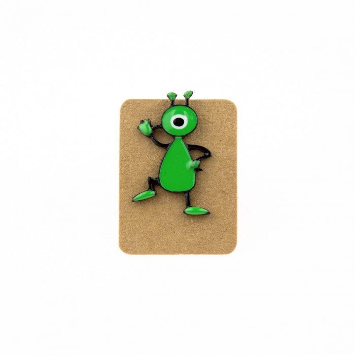 Metal Green One Eye Alien Enamel Pin Badge