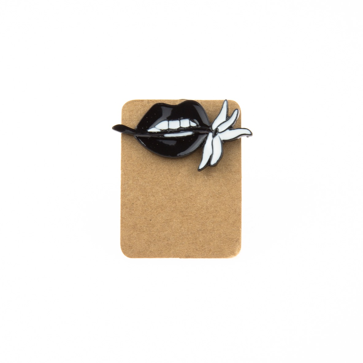 Metal Black Lip Flower Enamel Pin Badge