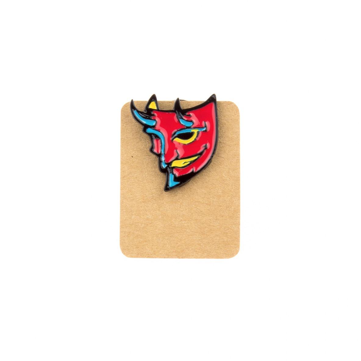 Metal Red Evil Mask Enamel Pin Badge