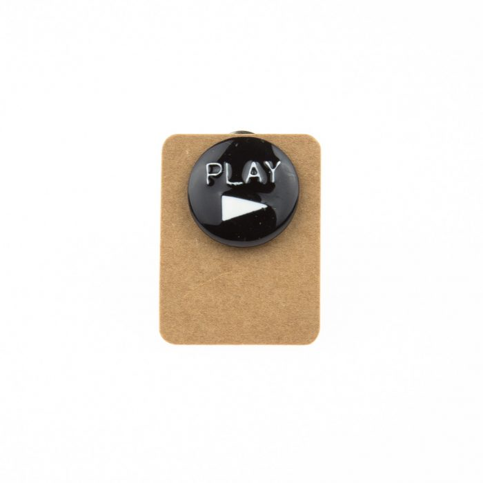 Metal Play Button Enamel Pin Badge