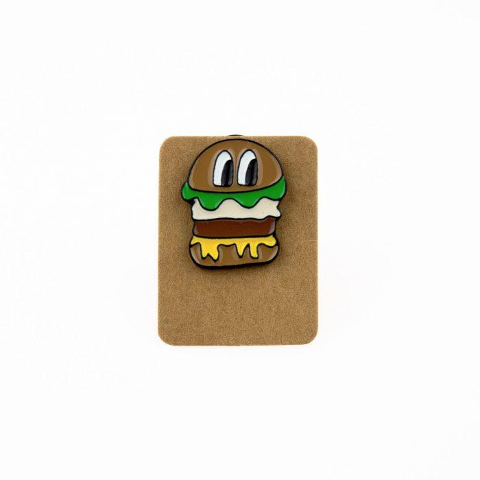 Metal Hamburger Eyes Enamel Pin Badge