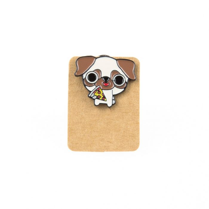 Metal Dog Eating Pizza Enamel Pin Badge