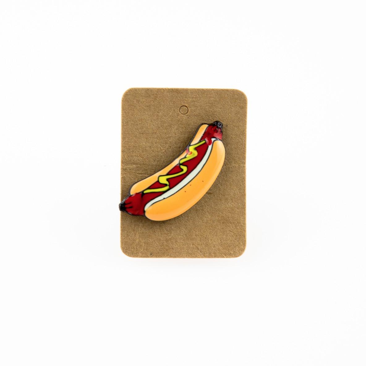Metal Hot Dog Enamel Pin Badge