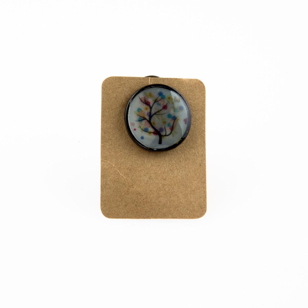 Metal Tree Butterfly Enamel Pin Badge