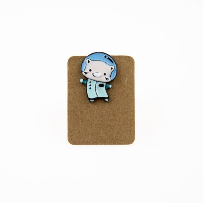 Metal Astronaut Cat Enamel Pin Badge