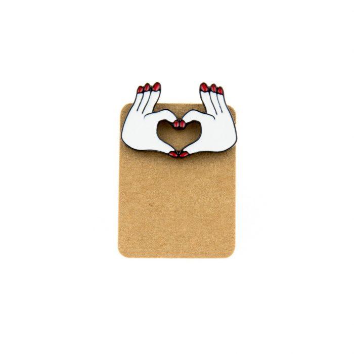 Metal Finger Heart Enamel Pin Badge
