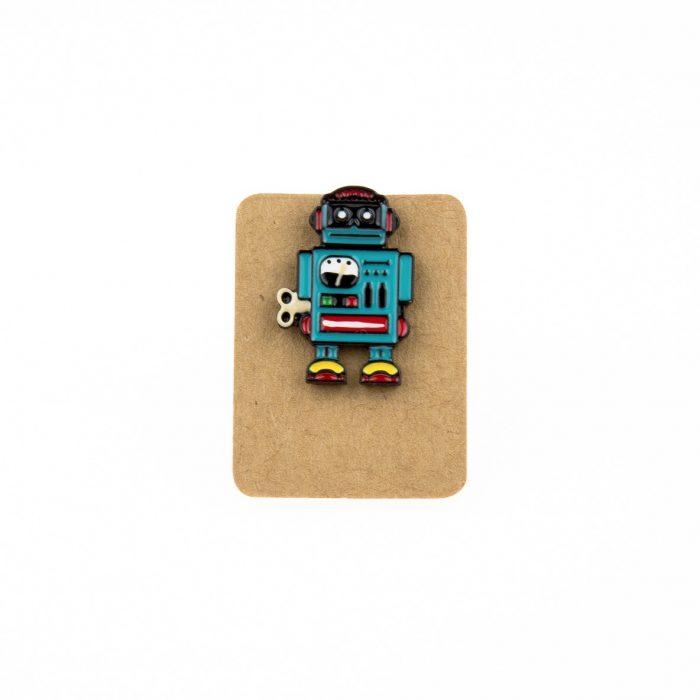 Metal Robot Retro Enamel Pin Badge