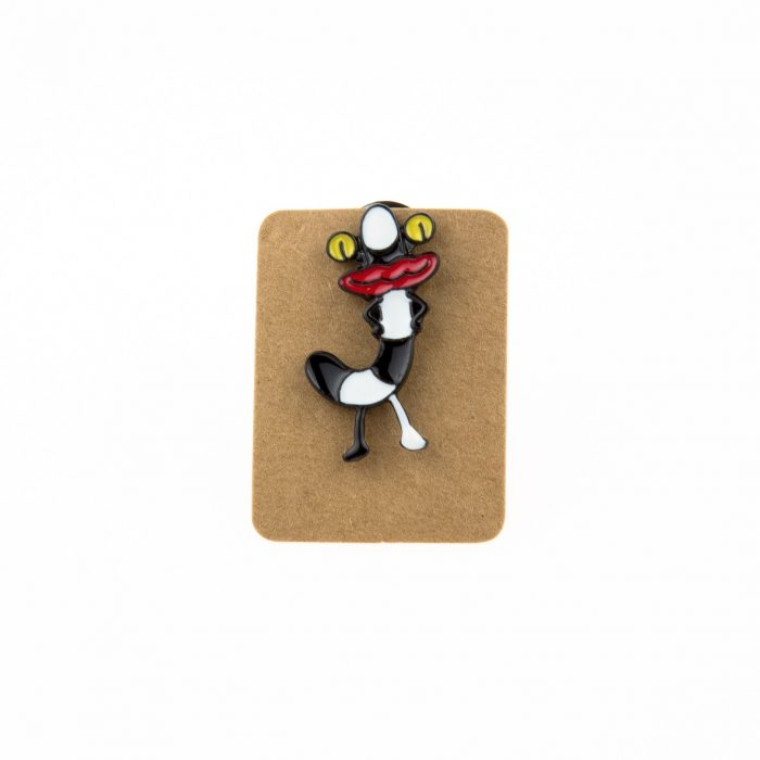 Metal Black&White Worm Enamel Pin Badge
