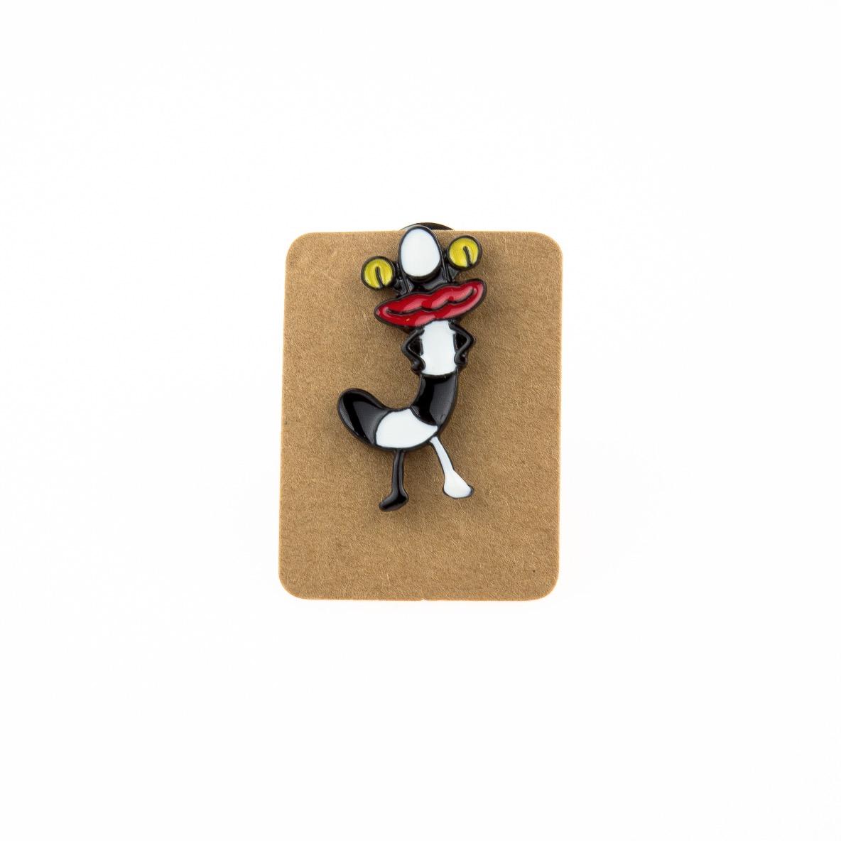 Metal Black&White Worm Enamel Pin Badge